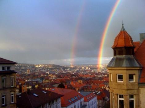 Echte Regenbögen über Stuttgart