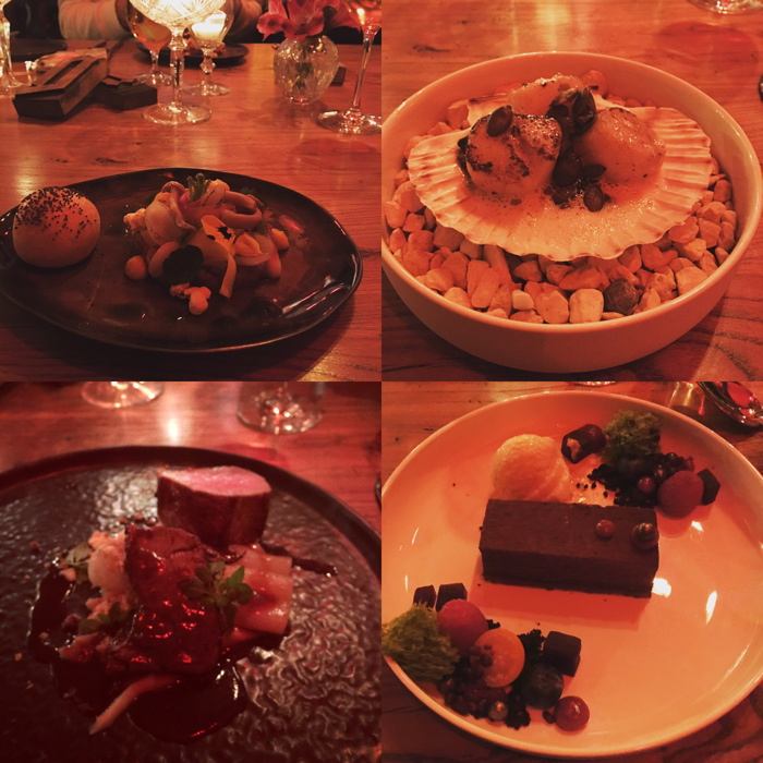 Vier Bilder vom Fünf-Gänge-Menü. Das Stunden-Ei fehlt. War alles so köstlich wie es aussieht.