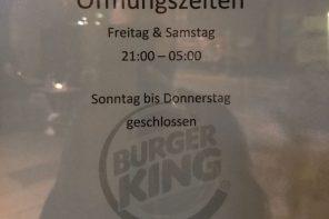 Öffnungszeiten Burger King Hans im Glück-Brunnen
