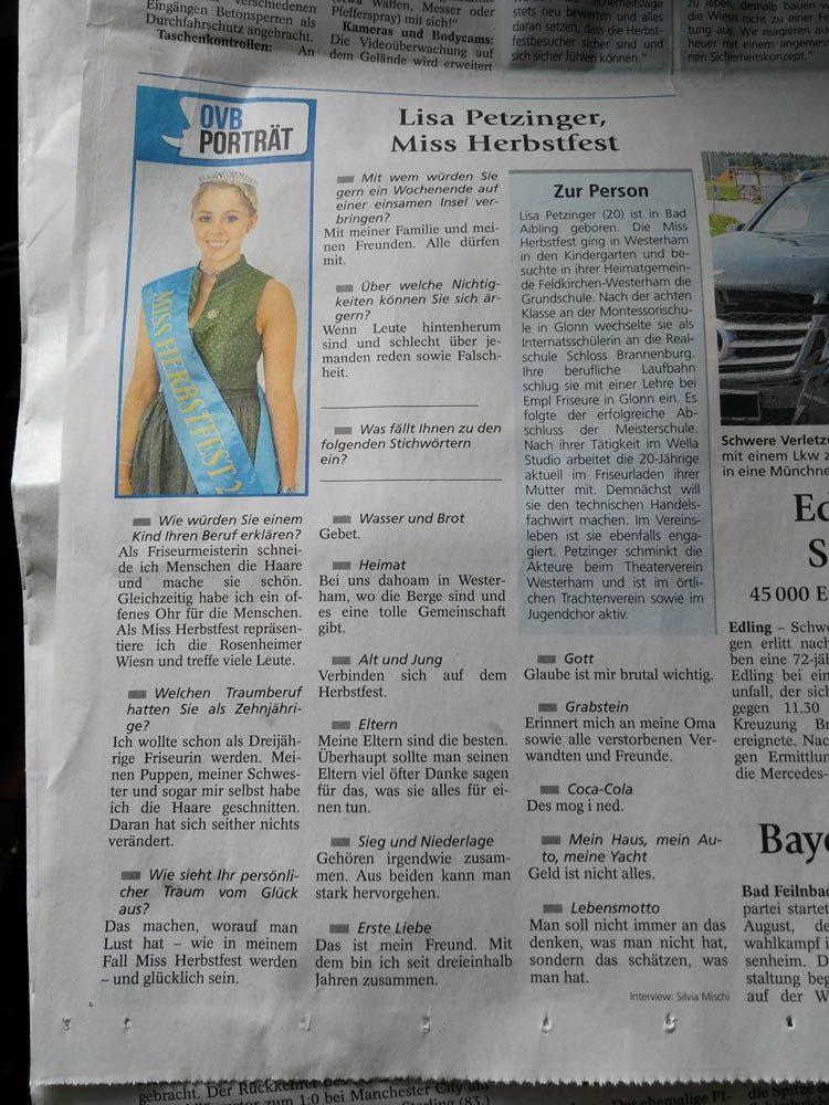 Weinkönigin im Oberbayrischen Volksblatt.