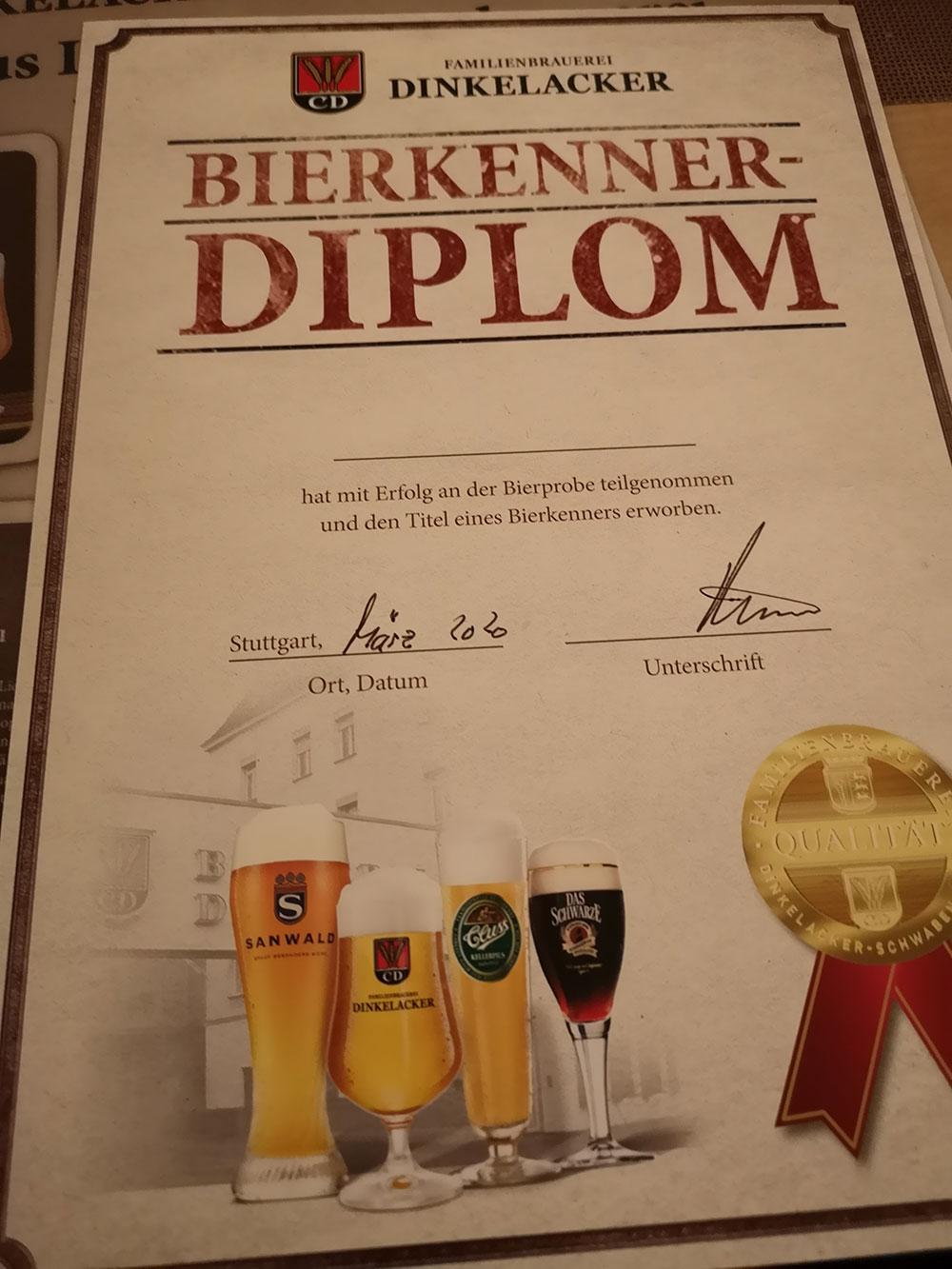 ...und zum Abschluss ein Bierkenner-Diplom!
