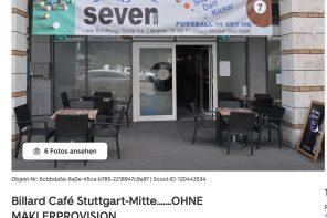 Billard-Café für 13.000 Euro Miete (ABER OHNE MAKLERPROVISION)