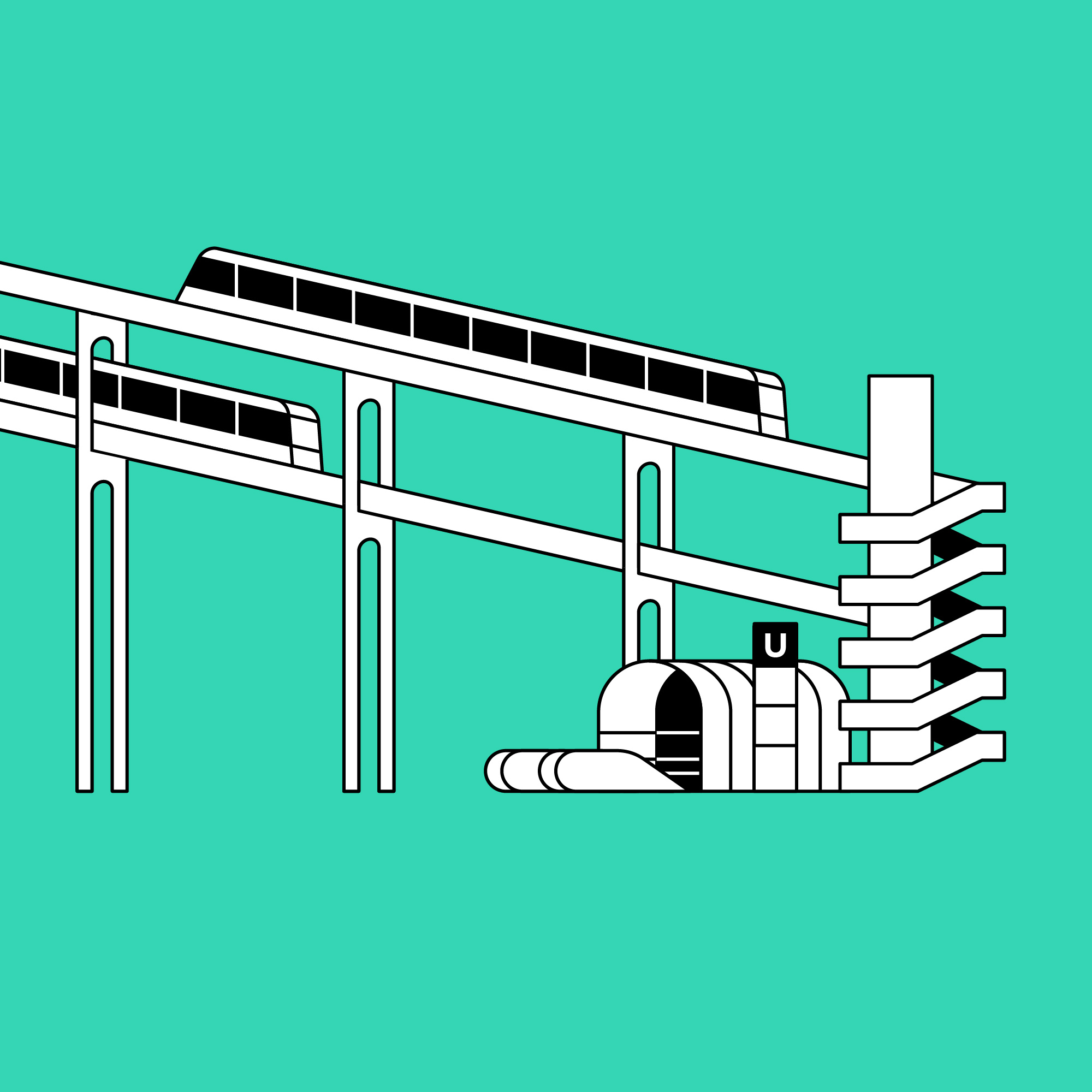 Titel: Urban structures: Transportation. Utopian two-storey furnicolare/cog railway