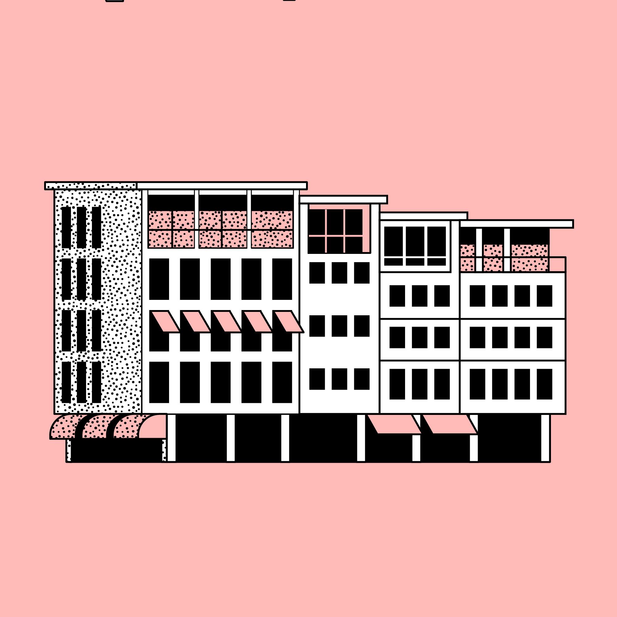 Titel: Urban structures: Mid-century modern town square, Stuttgart, Germany